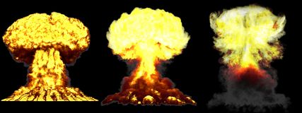illustration 3D d'explosion - explosion différente fortement détaillée de champignon atomique de 3 grande phases de bombe d'arme  illustration de vecteur
