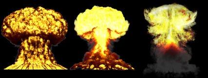 illustration 3D d'explosion - explosion différente fortement détaillée de champignon atomique de 3 grande phases de bombe atomiqu illustration de vecteur