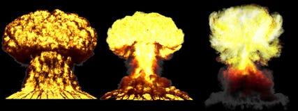 illustration 3D d'explosion - explosion différente fortement détaillée de champignon atomique de 3 grande phases de bombe nucléai illustration stock