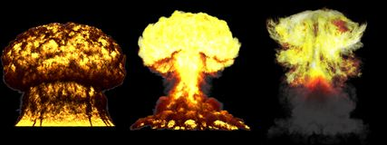 illustration 3D d'explosion - explosion diff?rente tr?s d?taill?e de champignon atomique de 3 grande phases de bombe ? hydrog?ne  illustration stock