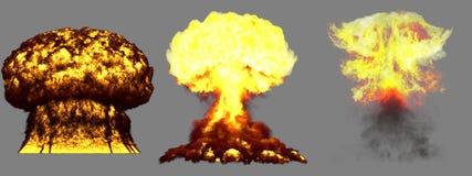 illustration 3D d'explosion - explosion différente très détaillée de champignon atomique de 3 grande phases de bombe atomique ave illustration de vecteur