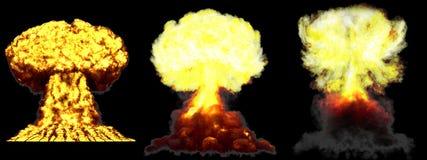 illustration 3D d'explosion - explosion différente très détaillée de champignon atomique de 3 grande phases de bombe de fusion av illustration stock