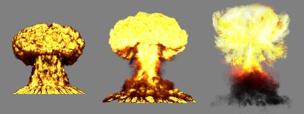 illustration 3D d'explosion - explosion différente très fortement détaillée de champignon atomique de 3 grande phases de bombe d' illustration de vecteur