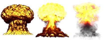 illustration 3D d'explosion - explosion diff?rente d?taill?e de champignon atomique de 3 phases de grande tr?s haute de bombe ? h illustration libre de droits