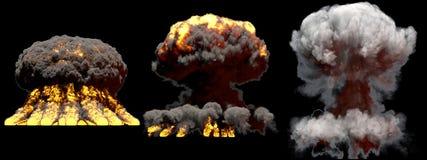 illustration 3D d'explosion - explosion diff?rente de champignon atomique du feu de 3 grande phases de bombe d'arme nucl?aire ave illustration libre de droits