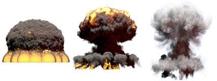 illustration 3D d'explosion - explosion diff?rente de champignon atomique du feu de 3 grande phases de bombe ? hydrog?ne avec de  illustration libre de droits