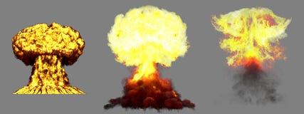 illustration 3D d'explosion - explosion diff?rente fortement d?taill?e de champignon atomique de 3 grande phases de bombe de fusi illustration de vecteur
