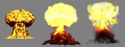 illustration 3D d'explosion - explosion diff?rente fortement d?taill?e ?norme de champignon atomique de 3 phases de bombe nucl?ai illustration de vecteur