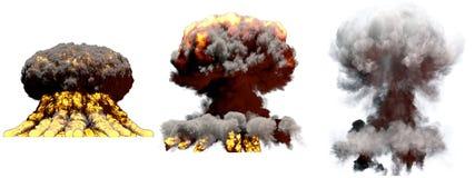 illustration 3D d'explosion - explosion diff?rente ?norme de champignon atomique du feu de 3 phases de bombe ? hydrog?ne avec de  illustration libre de droits