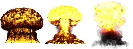 illustration 3D d'explosion - explosion diff?rente d?taill?e de champignon atomique de 3 phases de grande tr?s haute de bombe the illustration stock