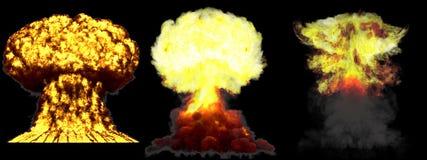 illustration 3D d'explosion - explosion diff?rente d?taill?e de champignon atomique de 3 phases de haute ?norme de bombe atomique illustration libre de droits