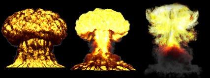 illustration 3D d'explosion - explosion diff?rente d?taill?e de champignon atomique de 3 phases de haute ?norme de bombe thermonu illustration stock