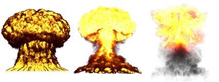illustration 3D d'explosion - explosion diff?rente tr?s fortement d?taill?e de champignon atomique de 3 grande phases de bombe su illustration stock