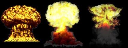 illustration 3D d'explosion - explosion diff?rente tr?s fortement d?taill?e ?norme de champignon atomique de 3 phases de bombe ?  illustration libre de droits