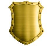 Illustration 3d för brons för metall medeltida isolerad sköld royaltyfri illustrationer