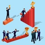 Illustration of 3D flat isometric people. Concept of business growth, career ladder, the path to success. Illustration of 3D flat isometric people. Businessman Royalty Free Stock Photography