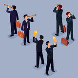 Illustration of 3D flat isometric people. The concept of a business leader, lead manager, CEO. Boss, his vision and personal success Royalty Free Stock Images