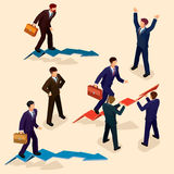 Illustration of 3D flat isometric people. The concept of a business leader, lead manager, CEO. Stock Photo