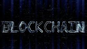 Illustration 3D futuriste du texte de Blockchain constitué en programmant le code illustration de vecteur