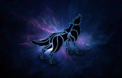 Illustration 3d générée par ordinateur artistique abstraite d'un loup à un arrière-plan de galaxie de nébuleuse illustration de vecteur