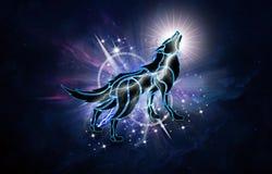 Illustration 3d générée par ordinateur artistique abstraite d'un loup puissant à un arrière-plan de galaxie de nébuleuse illustration libre de droits