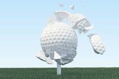 Illustration 3D Golfball-Streuungen zu den Stücken nachdem ein starker Schlag und ein Ball im Gras, Abschluss herauf Ansicht über Lizenzfreies Stockfoto