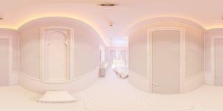 illustration 3d 360 grader panorama av korridoren Arkivfoto