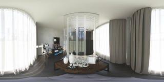 illustration 3d 360 grader panorama av sovrummet Royaltyfri Foto