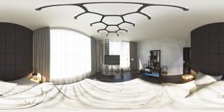 illustration 3d 360 grader panorama av sovrummet Royaltyfria Foton