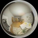 illustration 3d 360 grader panorama av vardagsrumnteriordesignen Royaltyfri Bild