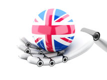 illustration 3d Hållande brittisk flaggasymbol för Robotic hand vektor illustrationer