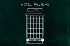 Illustration d'hôtel avec la légende de commentaires Images stock