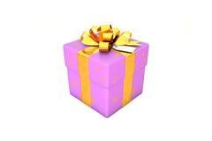 Illustration 3d: Hellpurpurn - violette Geschenkbox mit Stern, goldenem Metallband/Bogen und Tag auf einem weißen Hintergrund lok Stockfotografie