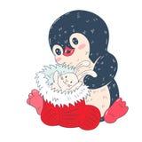 Illustration d'hiver avec le pingouin drôle de bande dessinée avec la chaussette de Noël Photographie stock