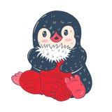 Illustration d'hiver avec le pingouin drôle de bande dessinée avec la chaussette de Noël Photographie stock libre de droits