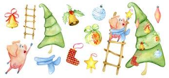 Illustration d'hiver de créateur de scène d'aquarelle de Noël avec le porc mignon décorant le pin illustration libre de droits