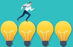 Illustration d'homme d'affaires courant sur le concept d'idée d'ampoule Image libre de droits