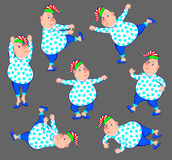 Illustration d'homme drôle faisant des exercices de matin Image stock