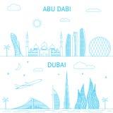 Illustration d'horizon d'Abu Dhabi et de Dubaï dans les lignes Photos stock