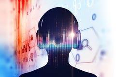 illustration 3d d'humain avec l'écouteur sur la forme d'onde audio Photos libres de droits