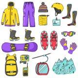 Illustration d'icônes de surf des neiges de sport d'isolement images libres de droits