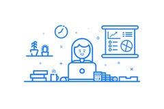 illustration d'icône bleue dans la ligne style plate Concept de construction graphique de comptable financier de femme Photographie stock libre de droits