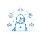 illustration d'icône bleue dans la ligne style plate Femme mignonne et heureuse linéaire avec l'ordinateur portable Image stock