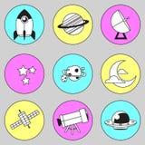 Illustration 03 d'icône de l'espace avec la ligne Images stock