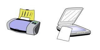 Illustration d'imprimante et de module de balayage, d'isolement Photos libres de droits