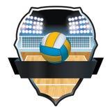 Illustration d'insigne de volleyball et de cour illustration libre de droits