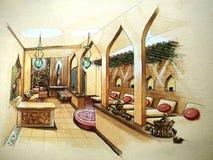 Illustration d'intérieur de conception de station thermale Image libre de droits