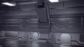 illustration 3d d'intérieur futuriste de vaisseau spatial de conception rendez illustration stock