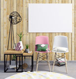 illustration 3d, intérieur moderne avec le cadre, affiche et chaise P Photo libre de droits