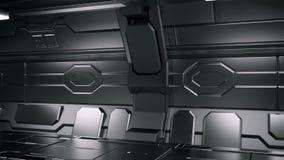 Illustration 3d intérieure de couloir de station spatiale de la science fiction illustration libre de droits